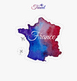 Travel around the world France Watercolor map vector image