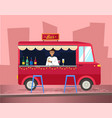 truck with bartender making alcohol drink for vector image