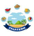 Vacation banner with beach and toys vector image vector image