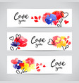 valentine day banners hearts and flowers painting vector image