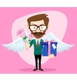 Young Handsome Man with Wings Flowers and Gifts vector image
