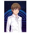 young man anime cartoon vector image vector image