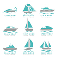 Boat logo and yacht label set Fast motor vector image