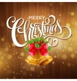 Christmas tree branches red ribbons and bells on vector image