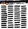 Set of black different grunge brush strokes vector image