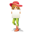 A girl wearing a hat holding an empty signage vector image vector image