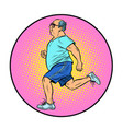 adult fat man running sports vector image