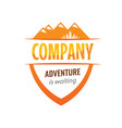 badge coat of arms for travel expedition company vector image