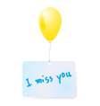 balloon with i miss you tag vector image