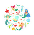 banner template with cute mermaids and aquatic vector image