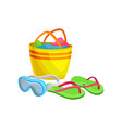 beach bag with towels goggles for underwater vector image vector image