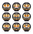 black emotional daruma dolls set vector image vector image