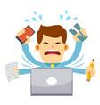 businessman feeling stressed working behind laptop vector image