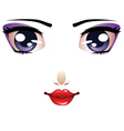 Cartoon female face vector image