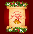 christmas bell greeting card on old paper scroll vector image vector image