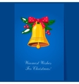 Christmas Bells with Bow and Berries Holiday vector image vector image