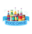 christmas food drive canned soup and drinks gift vector image