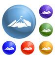 climb mountain flag icons set vector image vector image