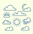 cloud sun moon rain loutlined icon set meteo vector image vector image