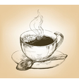 Cup of hot coffee on saucer vector image vector image