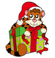 cute cat in santas hat vector image vector image