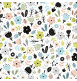 cute flowers in scandinavian seamless patter vector image