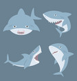 cute shark cartoon set vector image