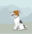 dog sitting outdoors vector image vector image