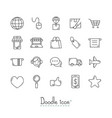 doodle e-commerce icons vector image