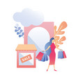 female flat ad sale banner buyer visiting store vector image vector image
