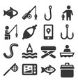 fishing icons set on white background vector image