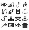 fishing icons set on white background vector image