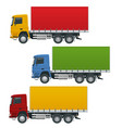 flat trucks set isolated realistic vehicles on vector image vector image