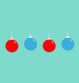 four christmas ball hanging on dash line cute vector image vector image