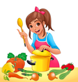 Girl is cooking with several vegetables vector image