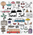 Hand drawn doodle travel set