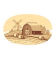 hand drawn sketch farm landscape agriculture vector image vector image