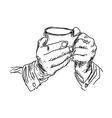 handdrawn of right hand holding coffee vector image vector image