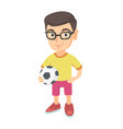little caucasian boy holding a football ball vector image vector image