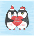 loving penguins with scratched heart vector image