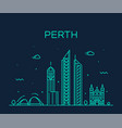 perth city skyline western australia linear vector image vector image
