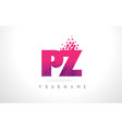 pz p z letter logo with pink purple color and vector image