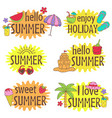 set of isolated summer letterings design vector image