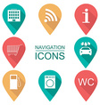 Set of navigation icons Flat design Scope of vector image