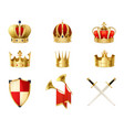 set of realistic golden royal crowns vector image vector image