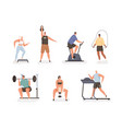 set people during cardio exercises and power vector image