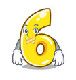 silent number six isolated on the mascot vector image vector image