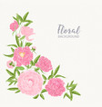 square floral backdrop decorated by blooming pink vector image