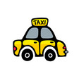 taxi car in yellow colors isolated on white vector image vector image