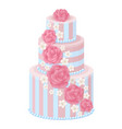 three-tier wedding cake decorated with glaze roses vector image vector image